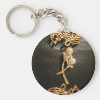 Golden Musical Notes and Pearls Basic Round Button Key Ring