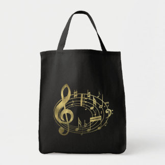 Golden musical notes in oval shape