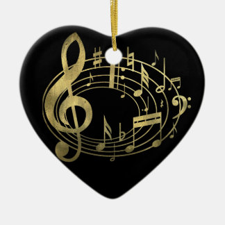 Golden musical notes in oval shape christmas tree ornament