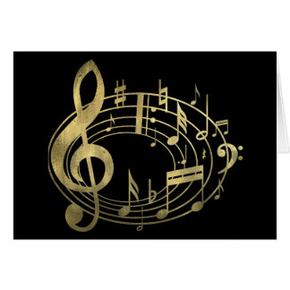 Golden musical notes in oval shape greeting card