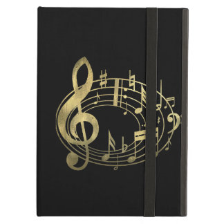 Golden Musical Notes in Oval Shape iPad Air Cover