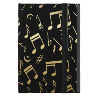 Golden Musical Notes on Black Background iPad Mini Case