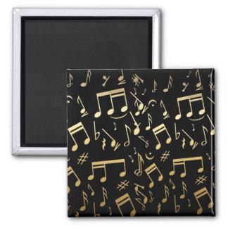 Golden musical notes on Black Square Magnet
