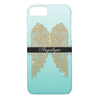 Golden n Diamond Jewel Look Angel Wings Bling iPhone 7 Case