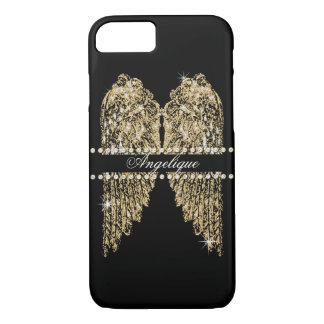 Golden n Diamond Jewel Look Angel Wings Bling iPhone 8/7 Case
