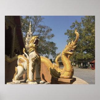 Golden Naga and White Dog ~ Chiang Mai, Thailand Poster