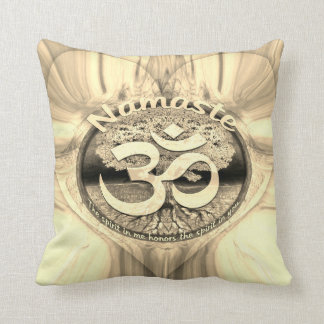 Golden Namaste Symbol with Tree of Life Cushion