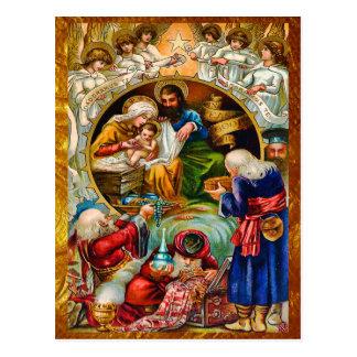 Golden Nativity Scene Postcard