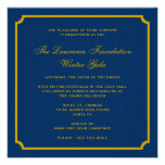 Golden navy square frame corporate holiday formal personalized invitation