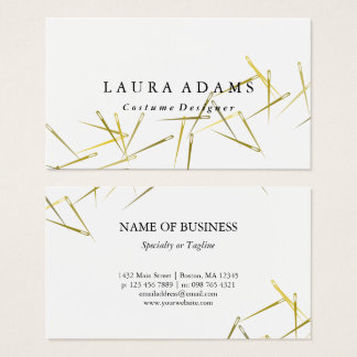 Golden Needles White | Elegant Fashion Designer Business Card