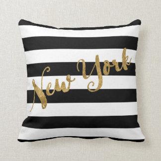 Golden New York Stripes Cushion