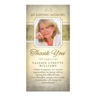 Golden Notes Musical Memorial Thank You Card