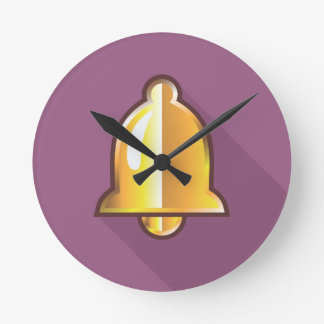 Golden Notification Bell Icon Clocks