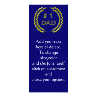Golden Number 1 Dad Bookmark Template Rack Card
