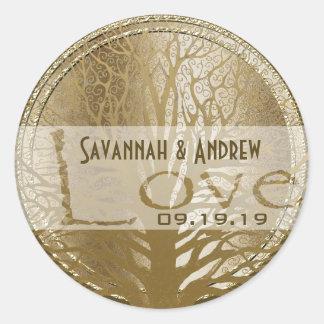 Golden Oakl Tree Gold Wedding Seal Stickers
