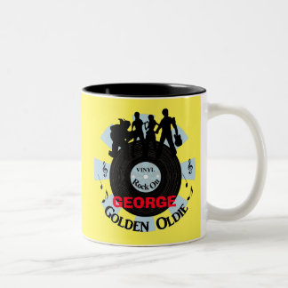 Golden Oldie Vinyl Records Rock On Personalized Two-Tone Coffee Mug