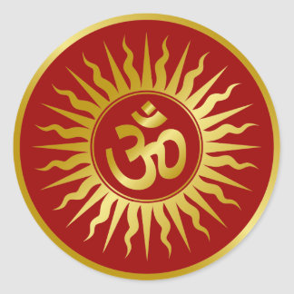 Golden Om Classic Round Sticker
