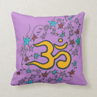 Golden Om floral on lilac Throw Pillow