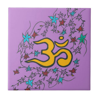 Golden Om on lilac Small Square Tile