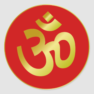 Golden Om Sign Round Sticker