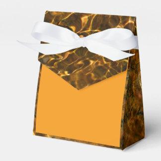 Golden orange favor box with aqua marine pattern favour box