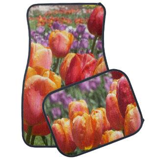 Golden Orange n Purple Tulips Car Mats Floor Mat