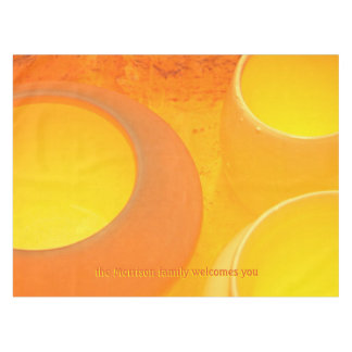 Golden oranges and yellows of a pottery kiln tablecloth