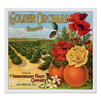 Golden Orchard Los Angeles Fruit Crate Label Poster