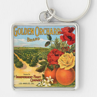 Golden Orchard Los Angeles Fruit Crate Label Silver-Colored Square Key Ring