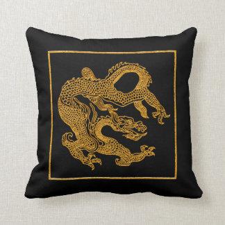 Golden oriental dragon 01 cushion