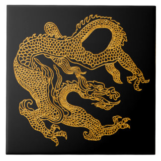 Golden oriental dragon 01 tile