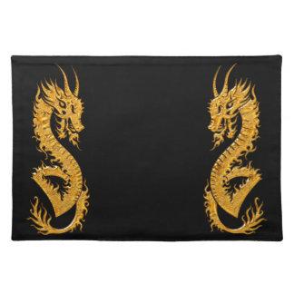 Golden oriental dragon 02 placemat