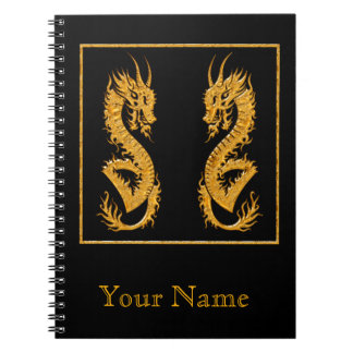 Golden oriental dragon 02 notebook