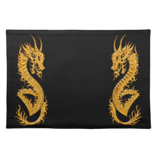 Golden oriental dragon 02 placemat