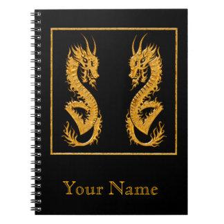 Golden oriental dragon 02 spiral notebook