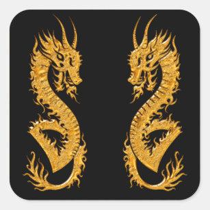 Golden oriental dragon 02 square sticker