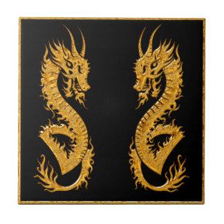 Golden oriental dragon 02 tile