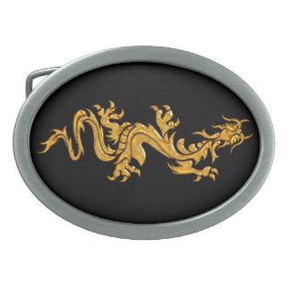 Golden oriental dragon 03 oval belt buckle