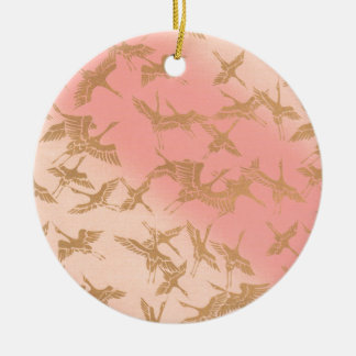 Golden Origami Crane Christmas Ornament