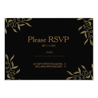 Golden Ornament Black RSVP Card 9 Cm X 13 Cm Invitation Card