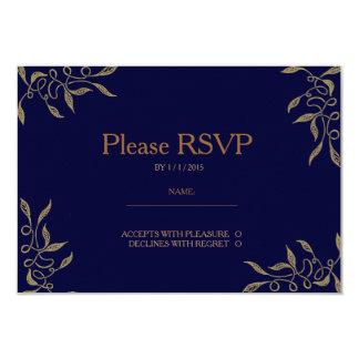 Golden Ornament Blue RSVP Card 9 Cm X 13 Cm Invitation Card