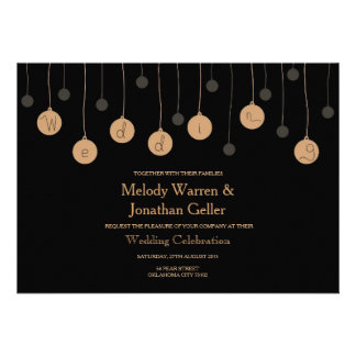 Golden Ornament Light Bulb Wedding Invitation Card