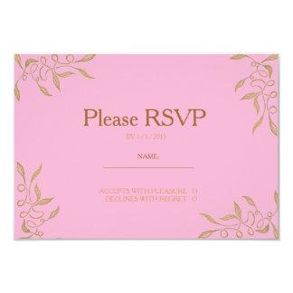 Golden Ornament Pink RSVP Card 9 Cm X 13 Cm Invitation Card
