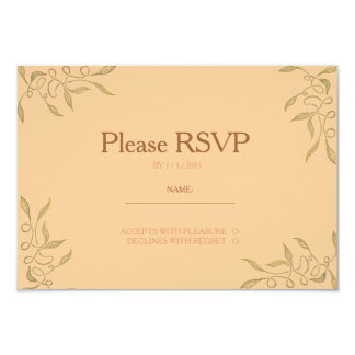 Golden Ornament RSVP Card 9 Cm X 13 Cm Invitation Card