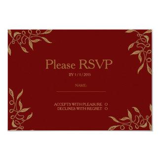 Golden Ornament Ruby RSVP Card 9 Cm X 13 Cm Invitation Card