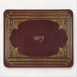 Golden Ornamental on Brown with Initials Mouse Mat