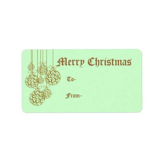 Golden Ornaments Christmas Gift Labels