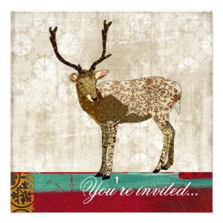 Golden Ornate Deer Teal Red White Invitation
