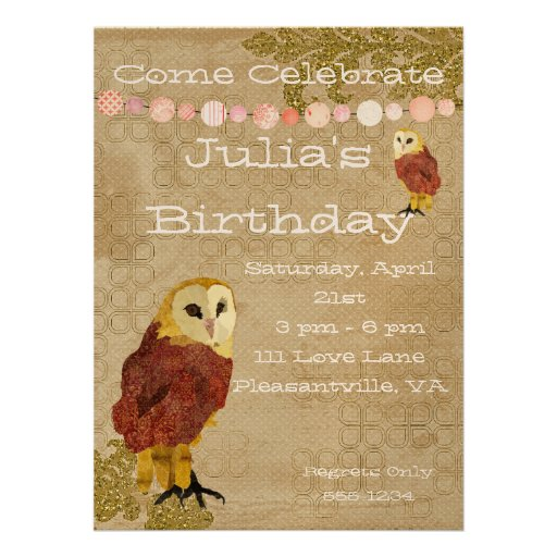 Golden Owl Birthday Invitation