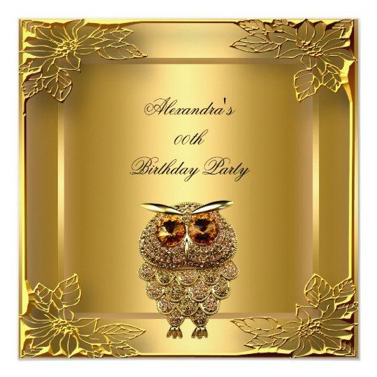 Golden Owl Elite Elegant Gold Birthday Party Card